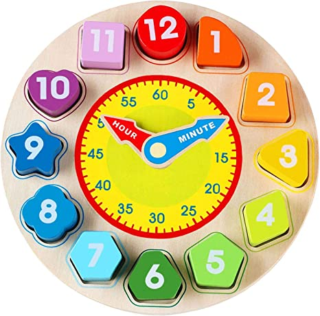 Jamohom Wooden Shape Sorting Clock Puzzle
