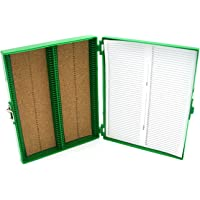 Heathrow Scientific HS15994B 100-Place Cork Lined Slide Box with Nickel Clasp, 208 x 175 x 34 mm, ABS, Cork, Green