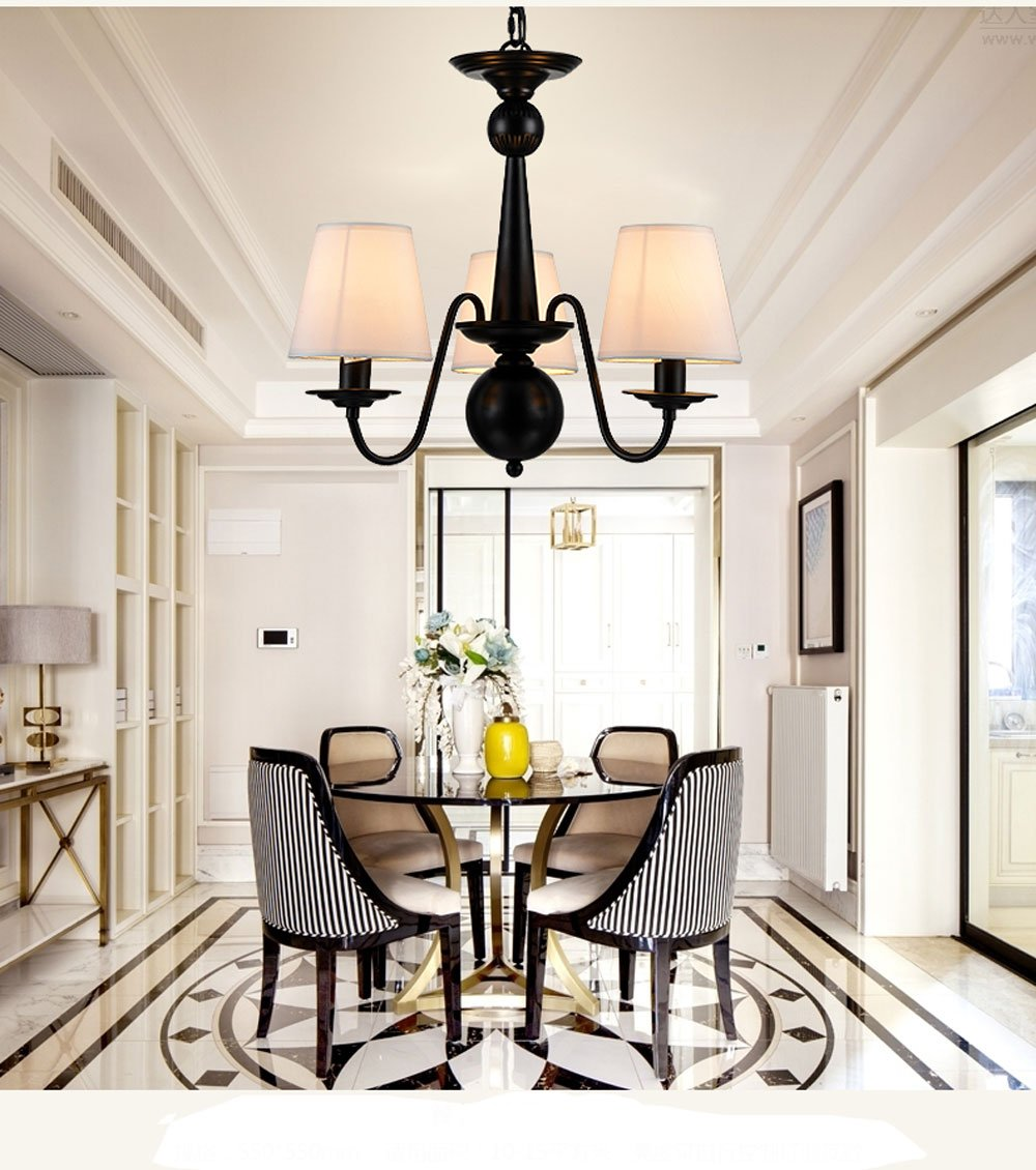 Cloth Cover American Chandeliers Pendant Lighting 3 Lights Antique Black Wrought Iron Ceiling Lamp Fixture Modern White Fabric Lampshade for Restaurant, Dining Room, Living Room by YANCEN (Image #2)