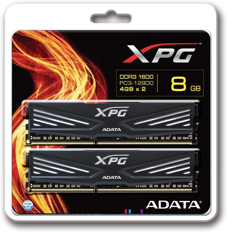 Black 8GB Memory Modules PC3 12800 AX3U1600W4G9-DB 4GBx2 ADATA XPG V1 DDR3 1600MHz