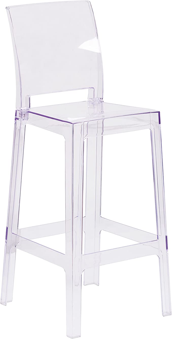 Amazon.com: Flash Furniture Ghost Barstool with Square Back in Transparent Crystal: Furniture & Decor
