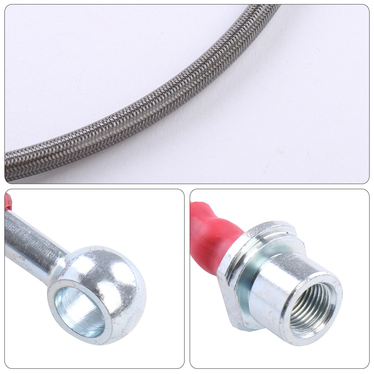 For Toyota Corolla E120 Front Rear Stainless Steel Braided Oil Brake Line Cable Hose Red End Cap Upgrade Replacement
