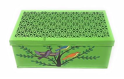 Pintada a mano verde caja de metal con Jali/Red Cubierta