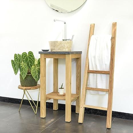 wohnfreuden Teakholz Waschtisch-Unterschrank mit Mamor Platte 60x40x74 cm schwarz f/ür Bad G/äste WC