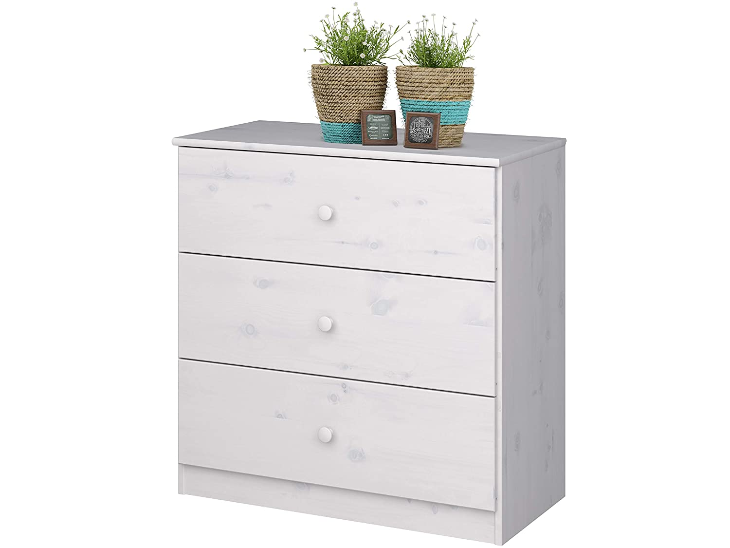 Loft KIDDY Chest of Drawer For Kid 3 Drawers Solid Pine wood White Wash Loft24