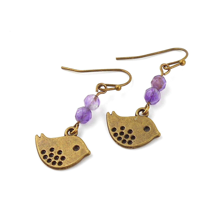 Sale 50/% off Amethyst Gemstone Bronze Bird Earrings