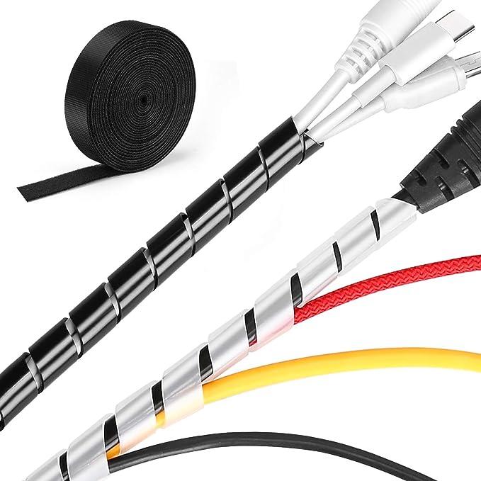 MOSOTECH 2 Pack Organizador Cables, 5.1M Espiral Cubre Cables Universal con 3.1M DIY Negro Bridas Cortable, Antienvejecimiento Flexible Recoge Cables ...
