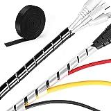 MOSOTECH 2 Pack Organizador Cables, 5.1M Espiral Cubre Cables Universal con 3.1M DIY Negro Bridas Cortable…