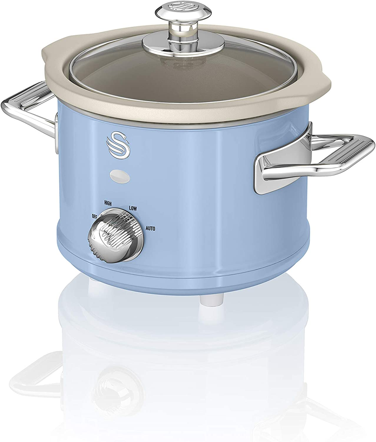 Swan 1.5 Litre Retro Slow Cooker with Removable Ceramic Pot, 3 Heat Settings, 120w