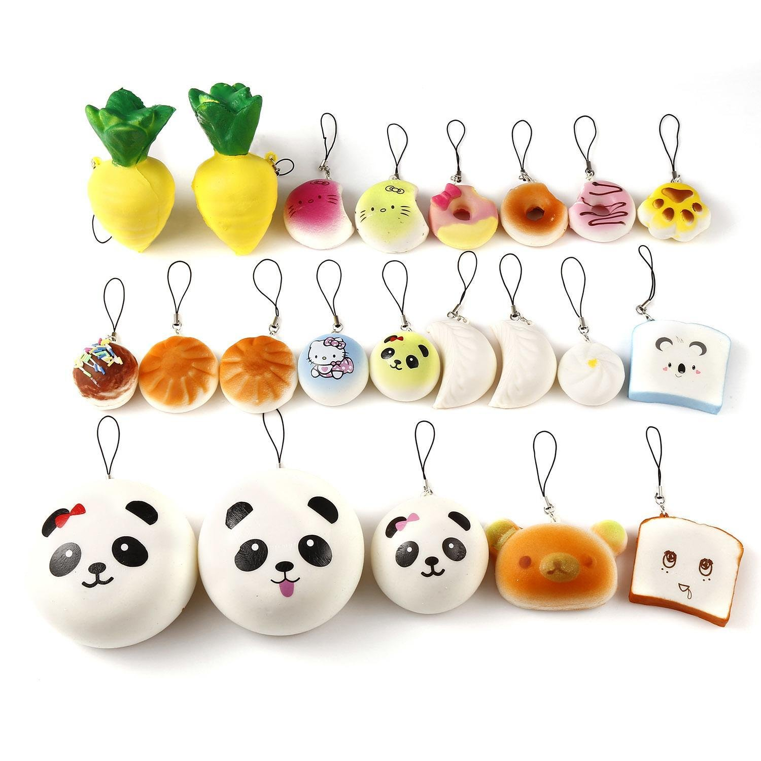 12Pcs Medium Mini Random Soft Lovely Jumbo with Phone Straps