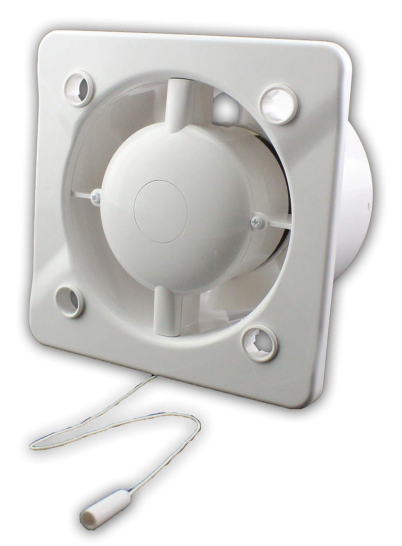 MKK Wohnrauml/üfter Bad WC Ventilator /Ø 100 mm wei/ß kraftvoll 7 Watt Kugellager R/ückstauklappe Drehzahlgesteuert mit R/ückstauklappe