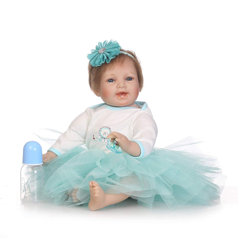 Mercancía de alta calidad y servicio conveniente y honesto. MGF Reborn bebé niña, 22 Pulgadas Realista Silicona Silicona Silicona bebé niña Azul Falda Navidad Regalo de cumpleaños Presente  hasta un 65% de descuento