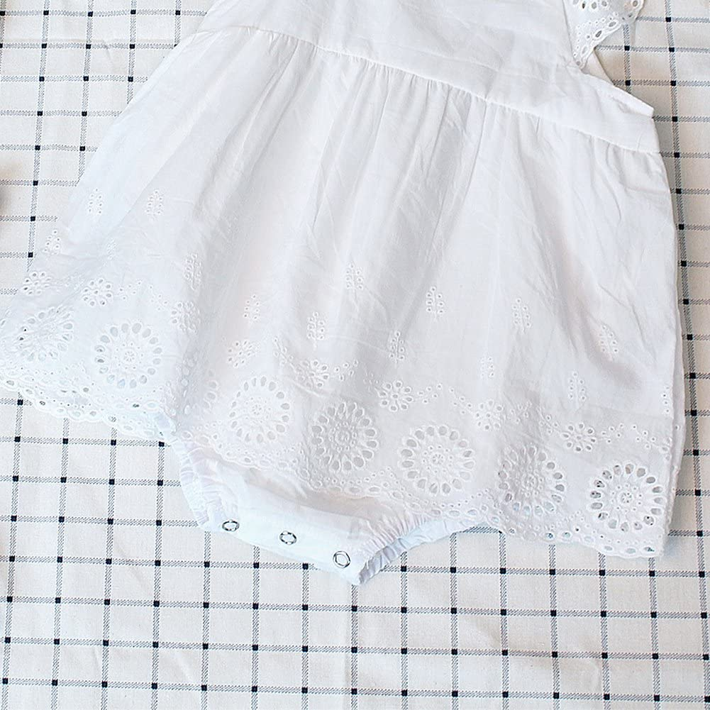 Dragon Honor Infant Baby Girls Ruffle Hollow Lace Strapless White Romper Sunsuit Bodysuit Outfits