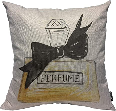 Mugod Throw Pillow Cover Watercolor Perfume Bottle With Black Big Bow Home Decorative Linen Square Pillow Case For Men Women Boy Gilrs Bedroom Livingroom Cushion Cover 18x18 Inch Beige Pillowcase Home