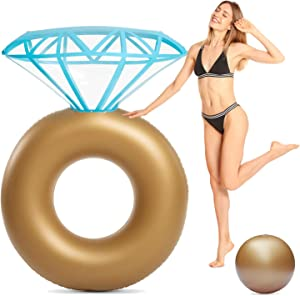 Inflatable Diamond Ring Pool Float - Engagement Bachelorette Party Summer Swimming Pool Raft Huge Pool Float Lounge Beach Floaty Party Toys for Kids Adults (Golden)