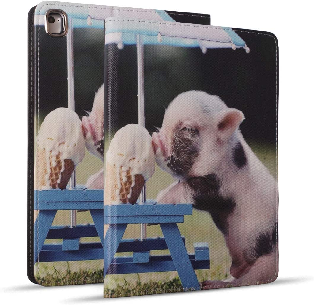 iPad 9.7 2018/2017 Case, iPad Air 2, iPad Air, Pro 9.7 Case, Soft Rubber Back Cover, Protective Leather Case, Adjustable Stand Auto Wake/Sleep Smart Case for ipad 6th/5th Gen - Cute Pig Eat Ice Cream