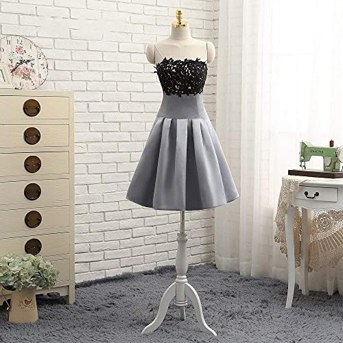 Amazon Grey And Black Lace Short Cocktail Dance Formal Dresses
