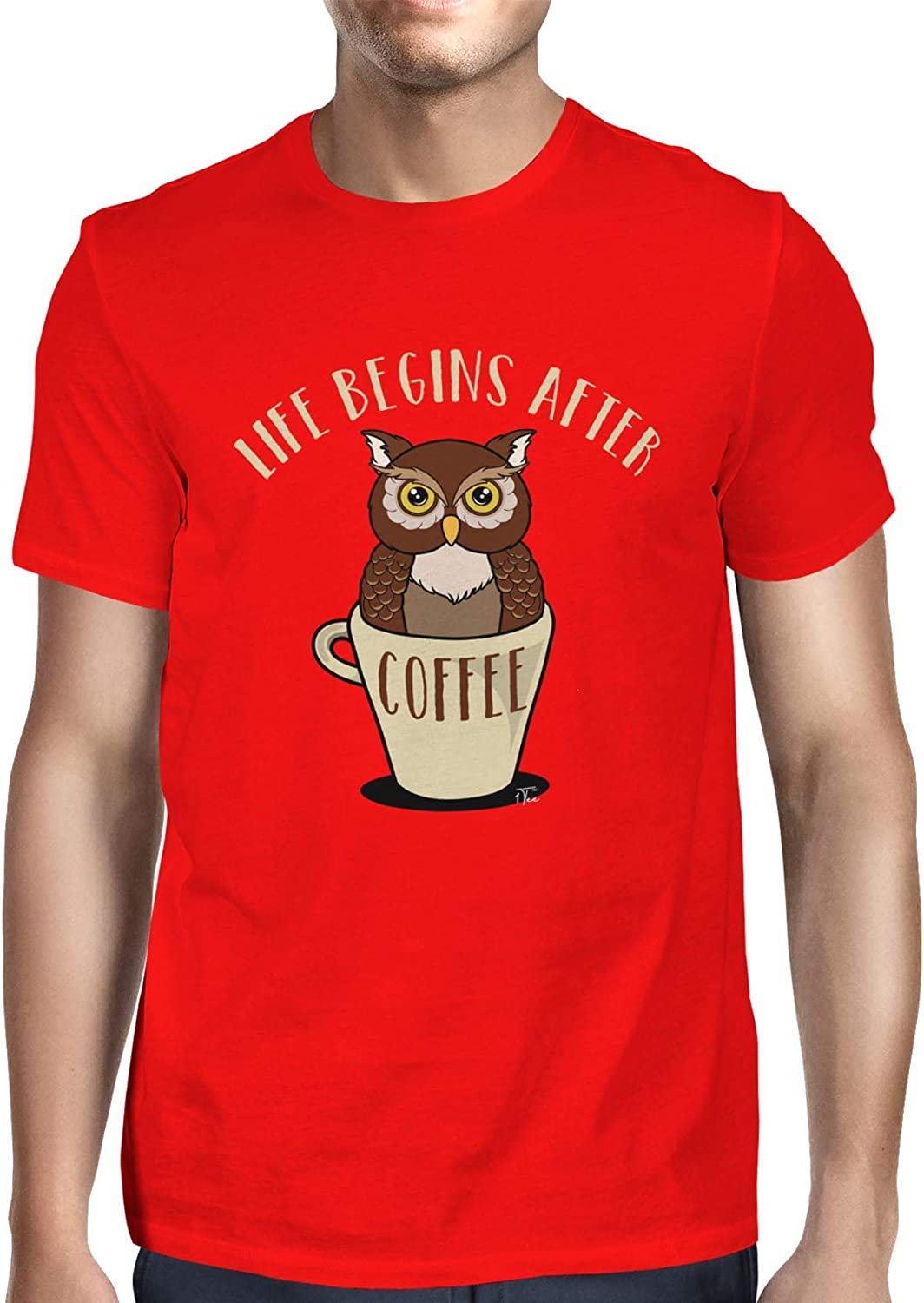 1Tee Womens Life Begins After Coffee Owl T-Shirt