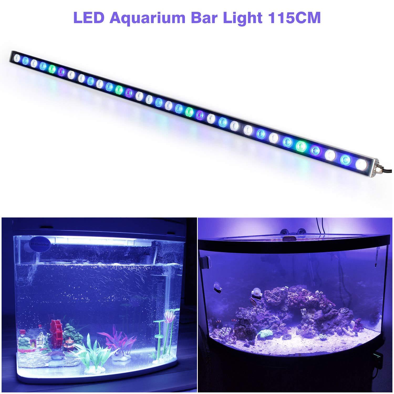 Roleadro Led Acuario 115cm 108w,36 LEDs Lampara Acuario con UV Led Acuario Impermeable IP 65,Iluminación Acuario Marino Para Acuario Arrecife Coral Pescado ...