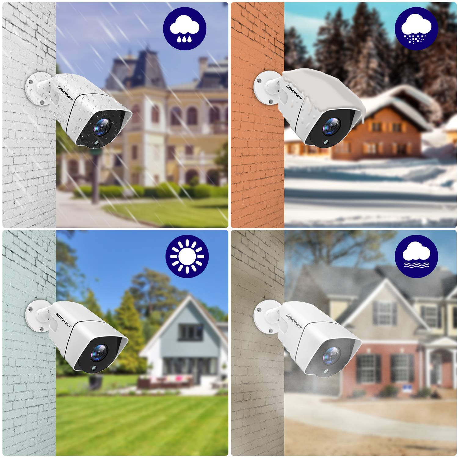 1TB Hard Drive ,4X 1080P Outdoor Indoor Security Cameras,IP66 Weatherproof,Night Vision,Remote View,Email Alert SMONET CCTV Security Camera Systems,1080P Full HD 8-Channel 5-in-1 Home Camera Systems