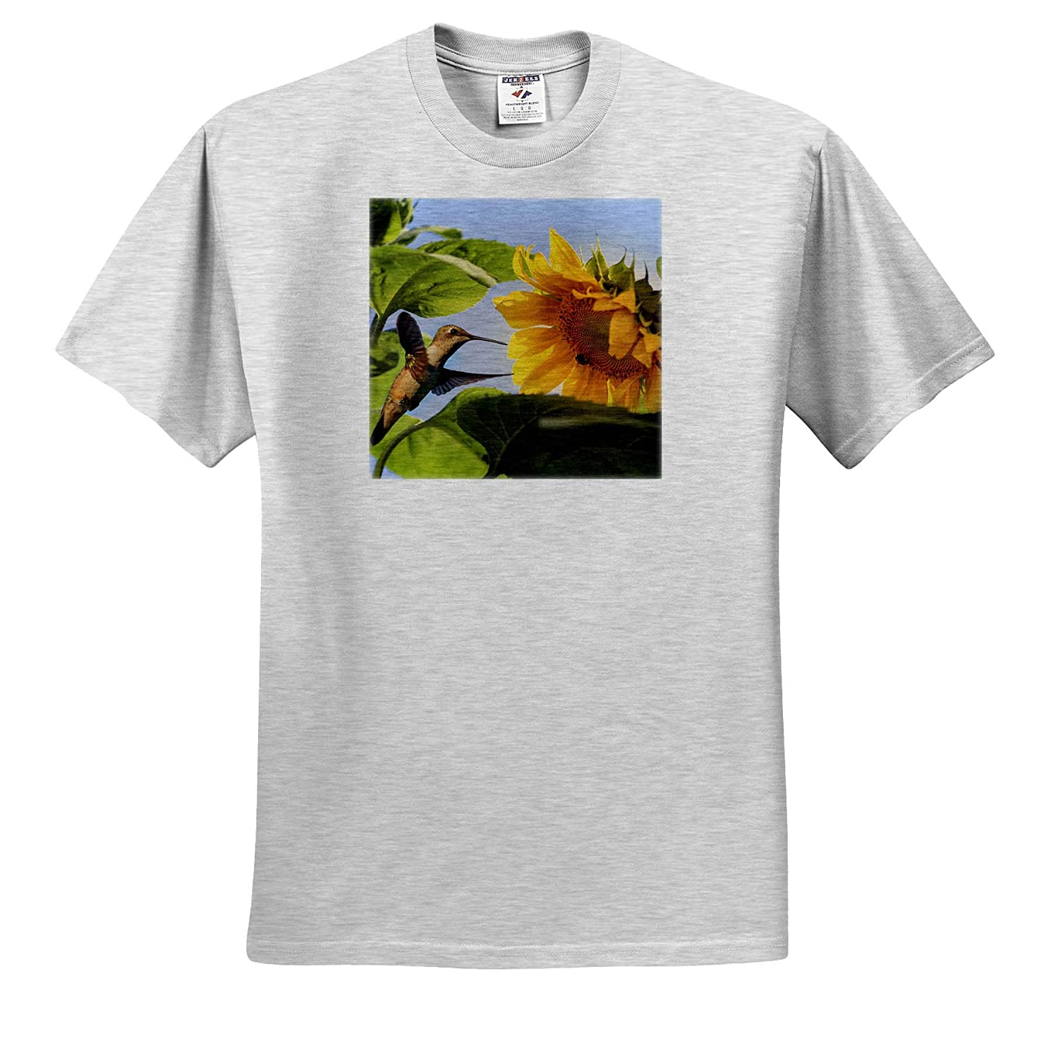 3dRose Stamp City - T-Shirts A Ruby-Throated Hummingbird and Carpenter bee Enjoying a Sunflower Nature