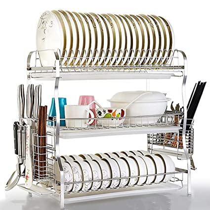 Estante de cocina Escurridor de platos Bandeja de drenaje Estante de cocina  Acero inoxidable 304 Cuenco 0b8558313b44