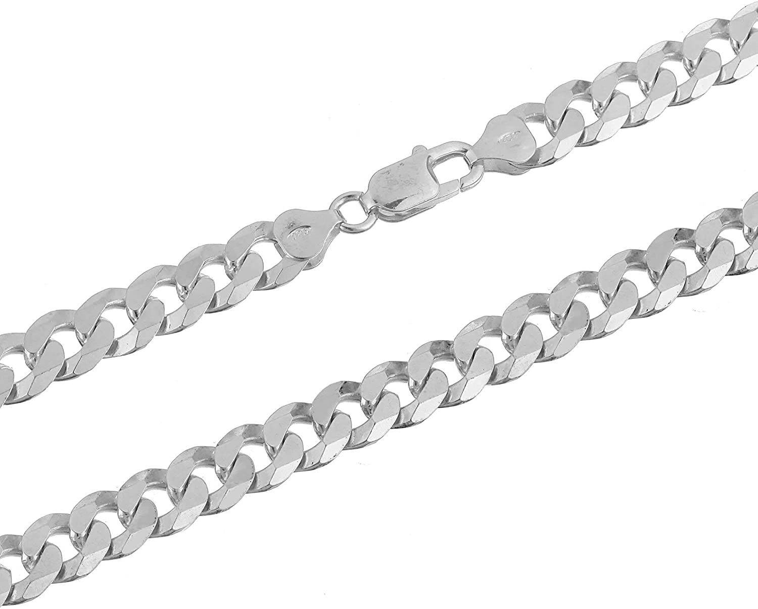 Mens Womens Solid 925 Sterling Silver Curb Link Bracelet Chain Necklace Italy