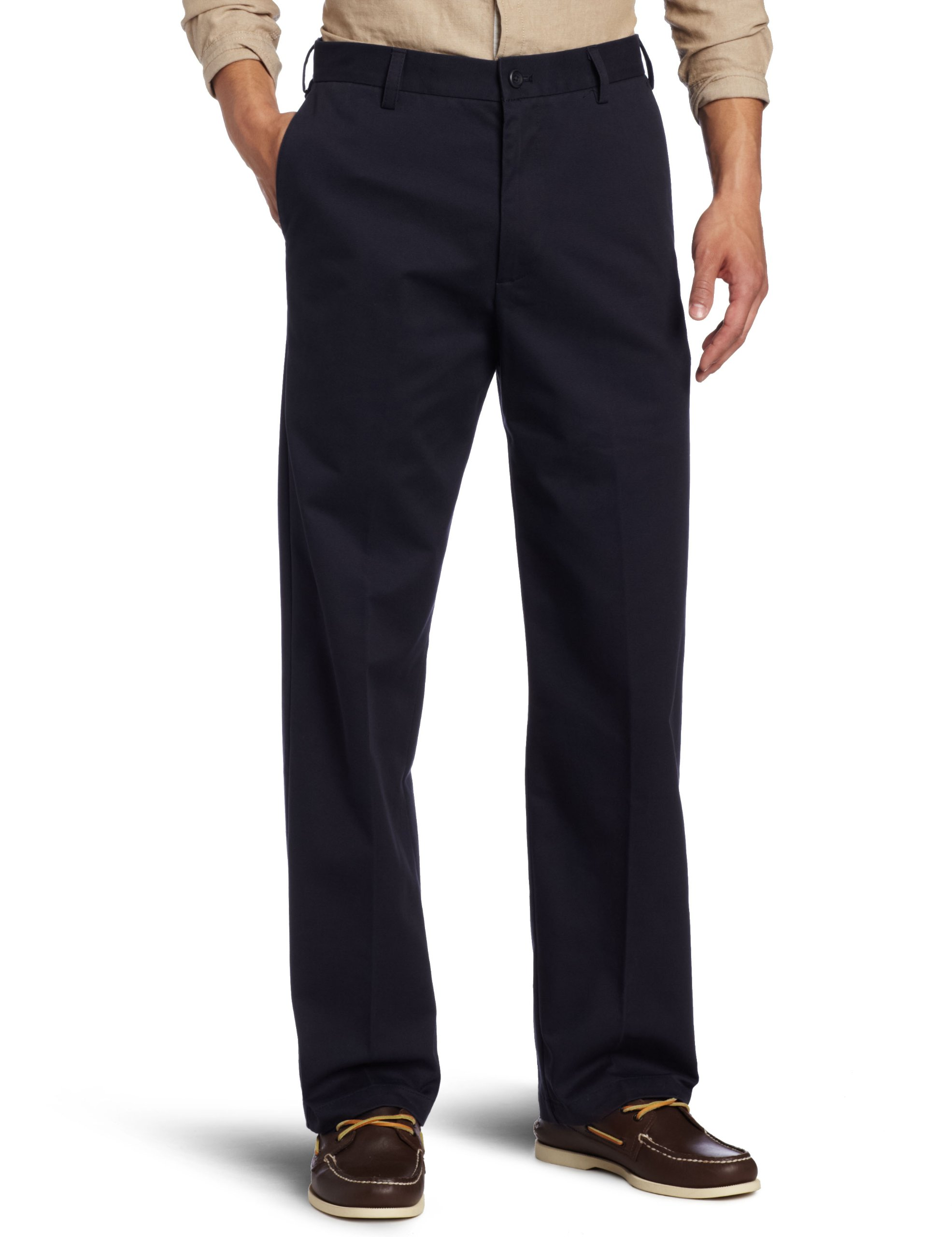 IZOD Men's American Chino Flat Front Straight-Fit Pant, Navy, 33W x 32L