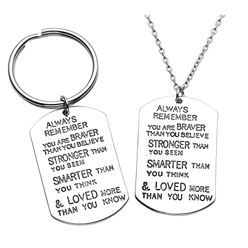 Top Plaza 2 Pcs Simple Silver Message Engraved Drive Safe/I Need You here  with me Alloy Dog Tag Pendant Necklace Keychains Set for Family Couples