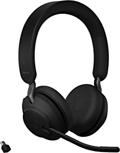 Jabra Evolve2 65 UC Wireless Headphones with Link380c, Stereo, Black – Wireless Bluetooth Headset for Calls and Music, 37 Hours of Battery Life, Passive Noise Cancelling Headphones