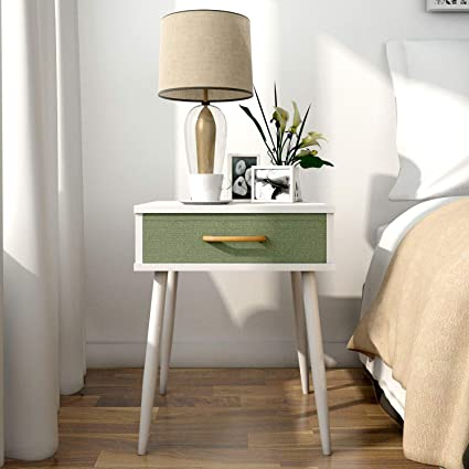 lifewit side end table nightstand bedroom living room table cabinet with green drawers - Bedroom End Tables