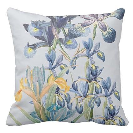 Amazon TORASS Throw Pillow Cover Blue Vintage Botanical Iris Interesting Gray And Yellow Decorative Pillows