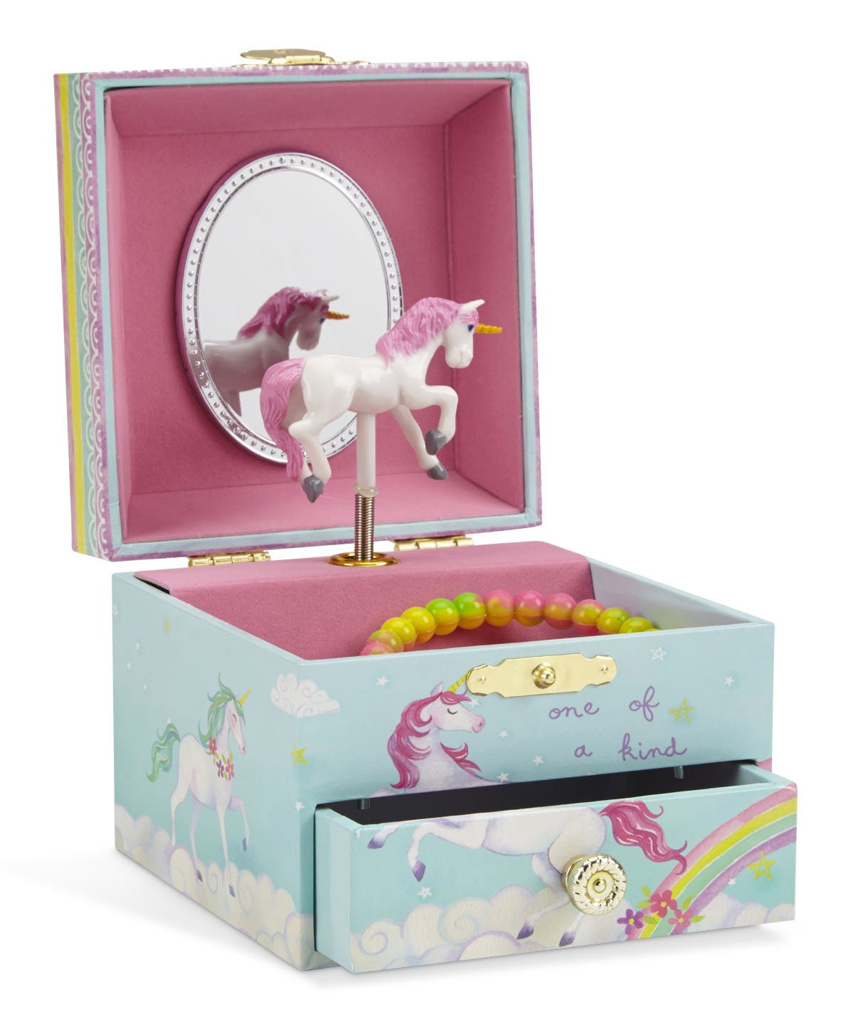 Jewelkeeper Musical Jewelry Box, Unicorn Rainbow Design with Pullout Drawer, The Unicorn Tune by Jewelkeeper
