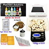 Precious Metal Testing Supplies Digital Scale + Gold/Silver/Platinum Testing Kit + PRO Test Stone + Eye Loupe + 10pcs File Tool Set + Real Solid Silver/Plated Fake Gold
