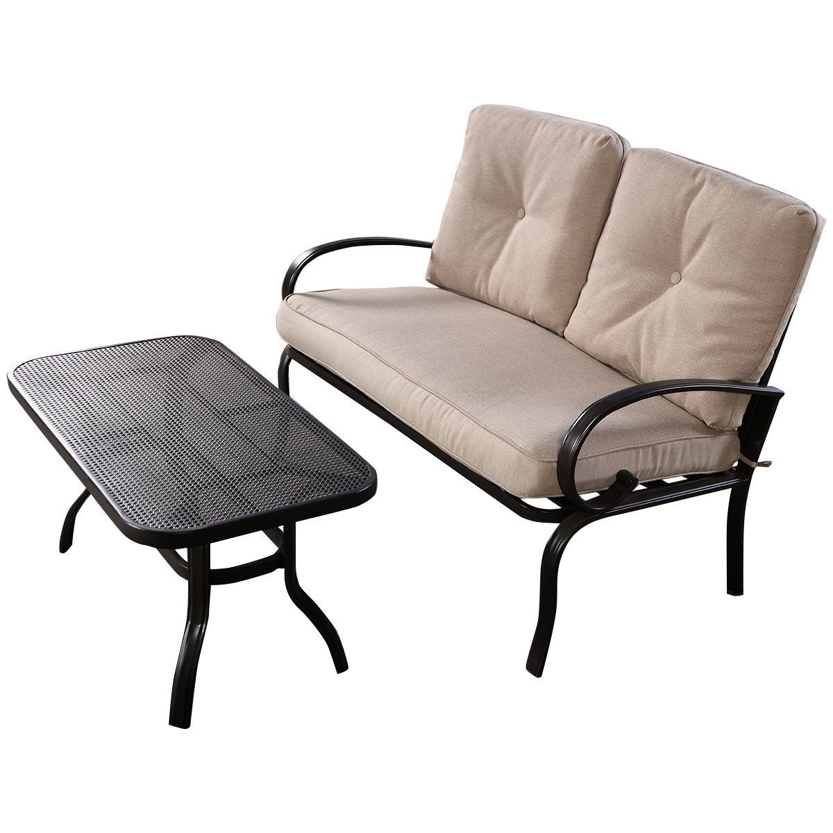 Amazon.com : Giantex 2 Pcs Patio Outdoor LoveSeat Coffee Table Set Furniture  Bench With Cushion : Patio, Lawn U0026 Garden