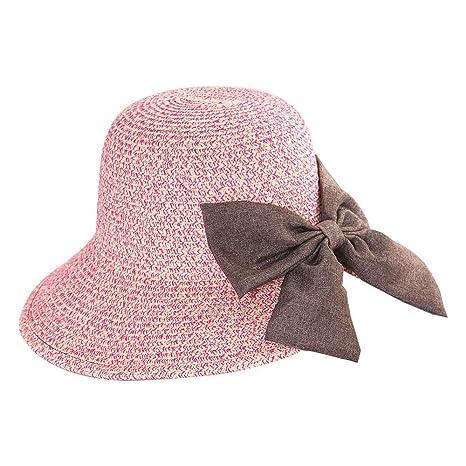 AOLVO - Sombrero de Playa con Pajita de Ganchillo para Mujer c7af64fd35d