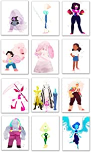 Watercolor Steven Universe Future Prints - Set of 12 (8x10 Inches) Glossy Wall Art Decor - The Diamonds - Spinel - Rose Quartz - Peridot - Pearl - Lapis Lazuli - Jasper - Garnet - Connie - Bismuth - A