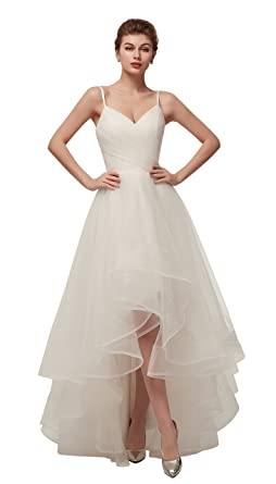 c66d4f56d0eb5 ONLYCE Simple Spaghetti Straps V Neck High Low Tulle Wedding Dress A ...