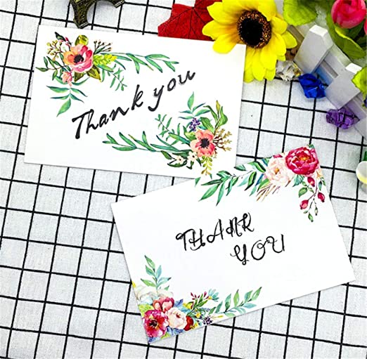 b843181f7c19 Amazon.com   Dohuge 6 Pieces Thank You Cards Elegant Floral Flower Thank  You Notes Cards for Wedding