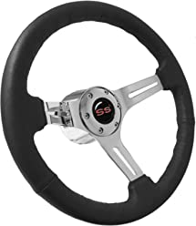 amazon volante steering wheels stores 1968 Chevy Nova 1969 1994 chevy super sport s6 black leather steering wheel chrome kit red ss