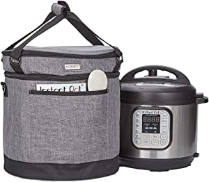 HOMEST 2 Compartments Carry Bag Compatible with 6 Quart Instant Pot, These Pressure Cooker Travel Tote Bag Have Accessory Pockets for Spoon, Measuring Cup, Steam Rack, Grey (Patent Design)