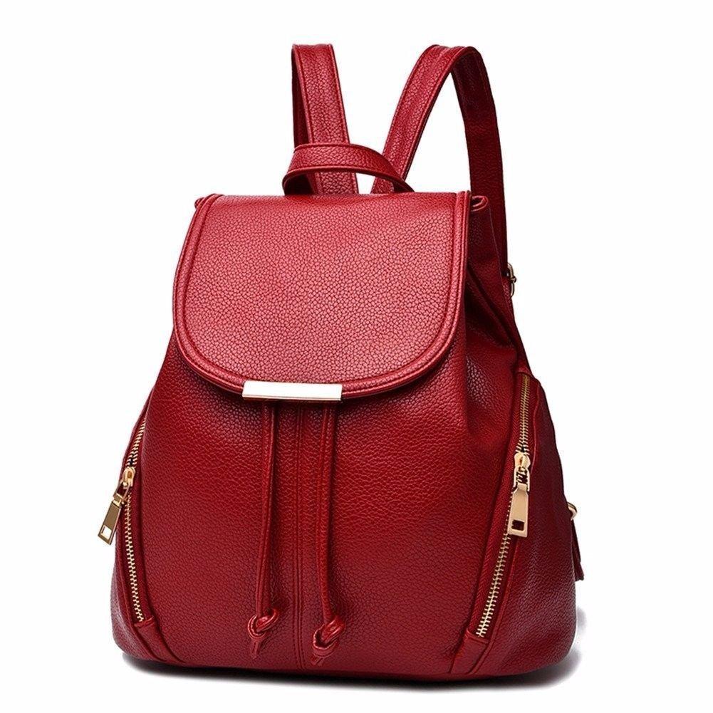 Gxinyanlong Mode Cuir Sac à Dos Sac à bandoulière Mini Sac à Dos pour Femme Red