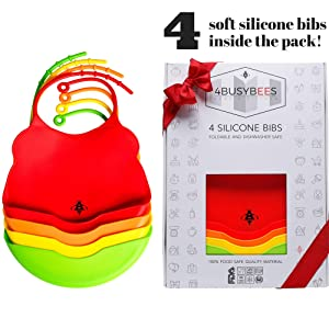 Pack of 4 Silicone Bibs Rainbow Collection! Baby Bibs - Best Baby Gifts, Bibs for Newborns, Boys and Girls - Silicone Bibs with Pocket, Waterproof, Feeding Bibs, Dishwasher Safe, Soft Bibs Small Size