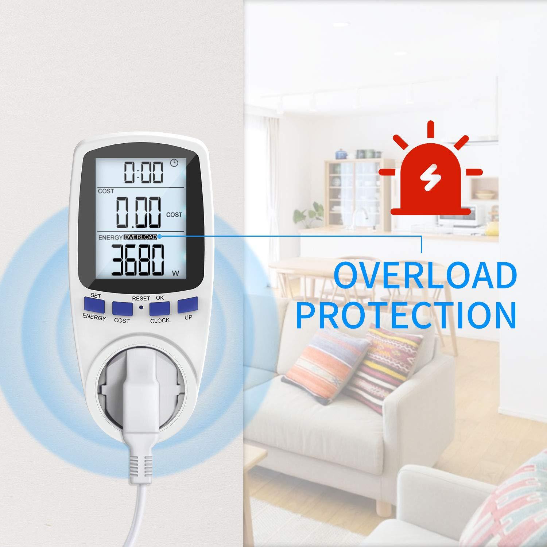 Gafild Medidor de consumo de corriente del medidor de energ/ía,Monitor Contador de Electricidad con Pantalla LCD Retroiluminada,protecci/ón contra sobrecarga,3680W