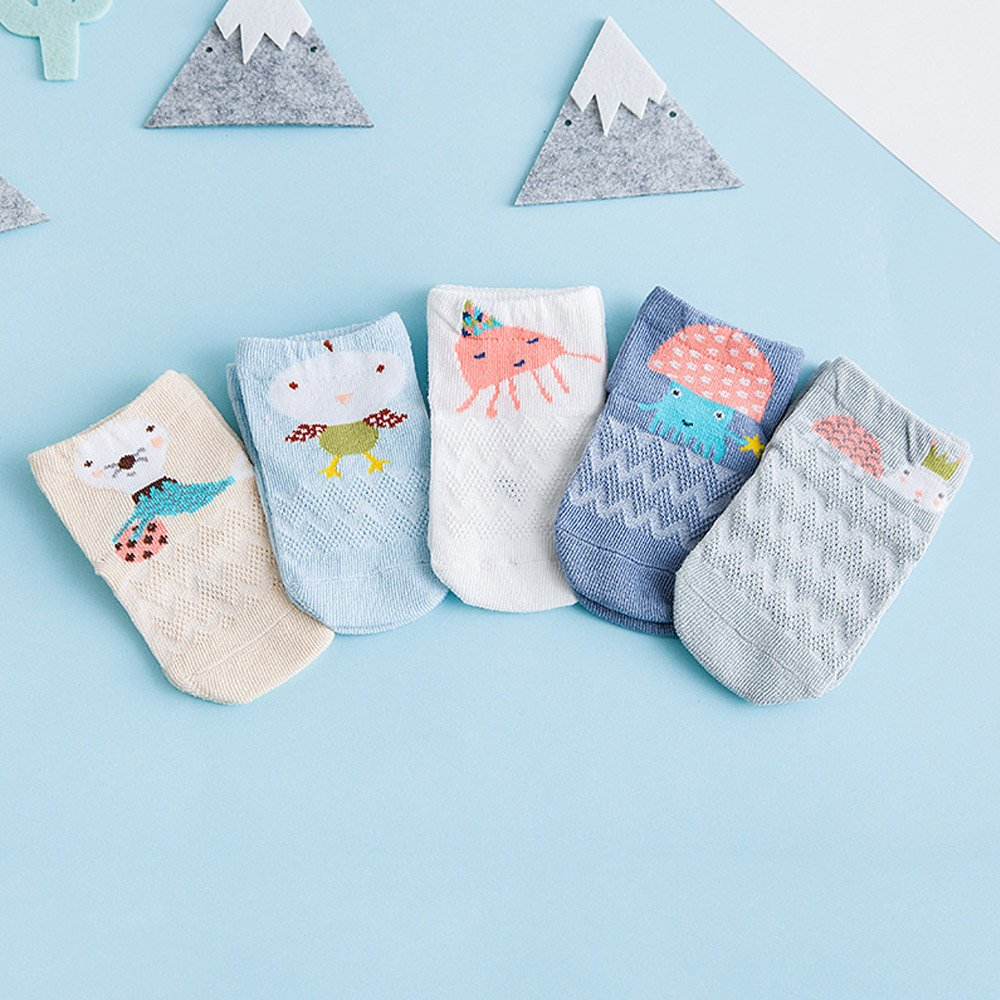 BOOPH Baby Crew Ankle Sock 5 Pairs Mesh Cotton Cartoon Animal Socks For Newborn Toddler Unisex 0-3T 1 Months 4 Years Old