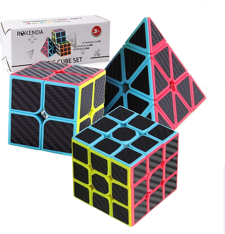 ROXENDA Speed Cube Set, Cubos de Velocidad de 2x2 3x3 Pirámide, Super-Durable con Colores Vivos, Giro Fácil y Juego Suave