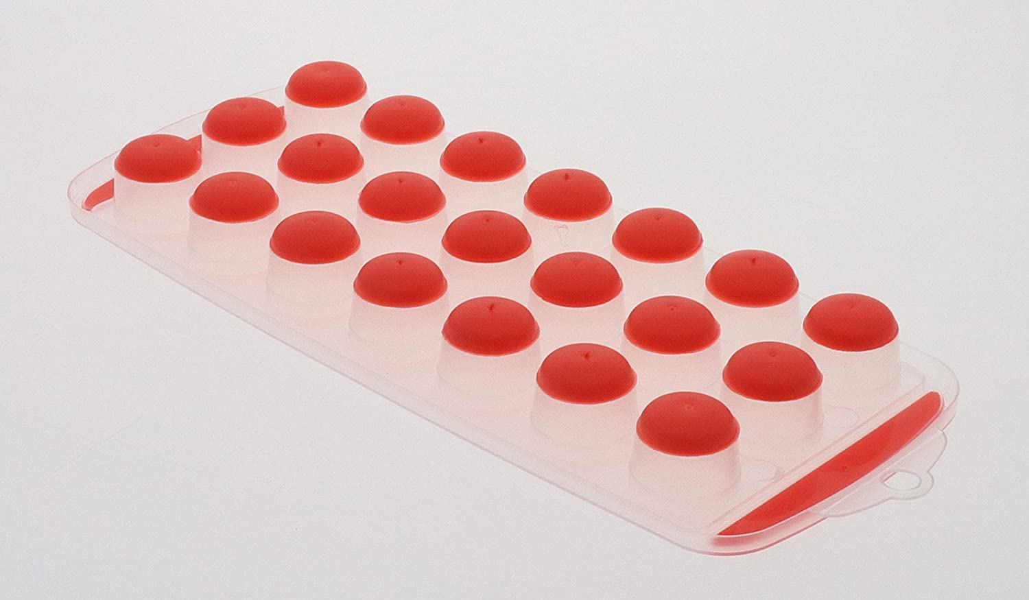 Pop Out Ice Cube Tray - BPA Free Dishwasher Safe Portable Novelty Flexible Silicone Ice Cube Maker - Just Press to Push Half Round Ice Cubes Into Drinks, Glasses. Color Orange by Perfect Life Ideas