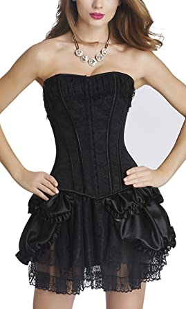 93dc591e14 KUOSE Women s Overbust Corset Lace up Boned Bustier with Skirt Black ...