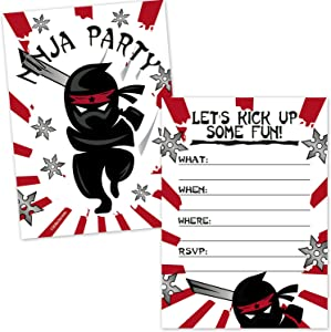 Ninja Samurai Birthday Party Invitations for Kids (20 Count with Envelopes) - Boys Birthday Invites - Ninja Party Supplies