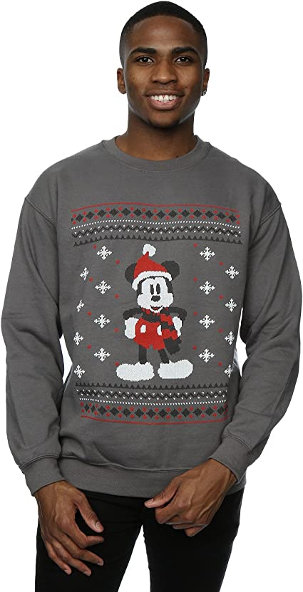 Disney Herren Mickey Mouse Scarf Christmas Sweatshirt